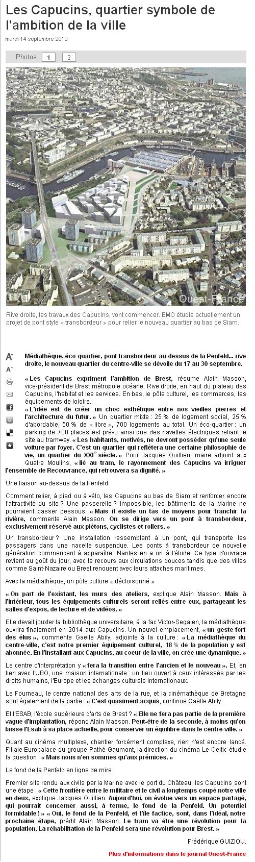 Ouest France 14 septembre 2010 - Edition Bretagne